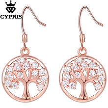 11.11 SUPER DEAL hot Mar Tree of life drop earrings crystal not lose color rose gold silver color wholesale factory price hot