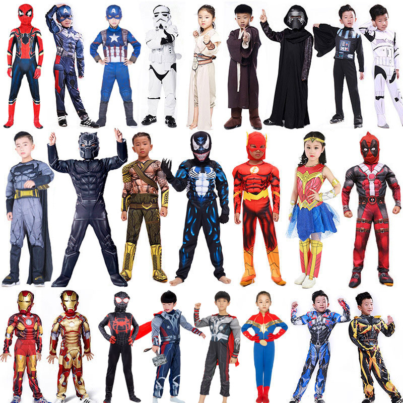Children's Halloween Performance Costume Star Wars Avengers Super Mary Spider Super Man Iron Man Ant Man Hulk Black Panther