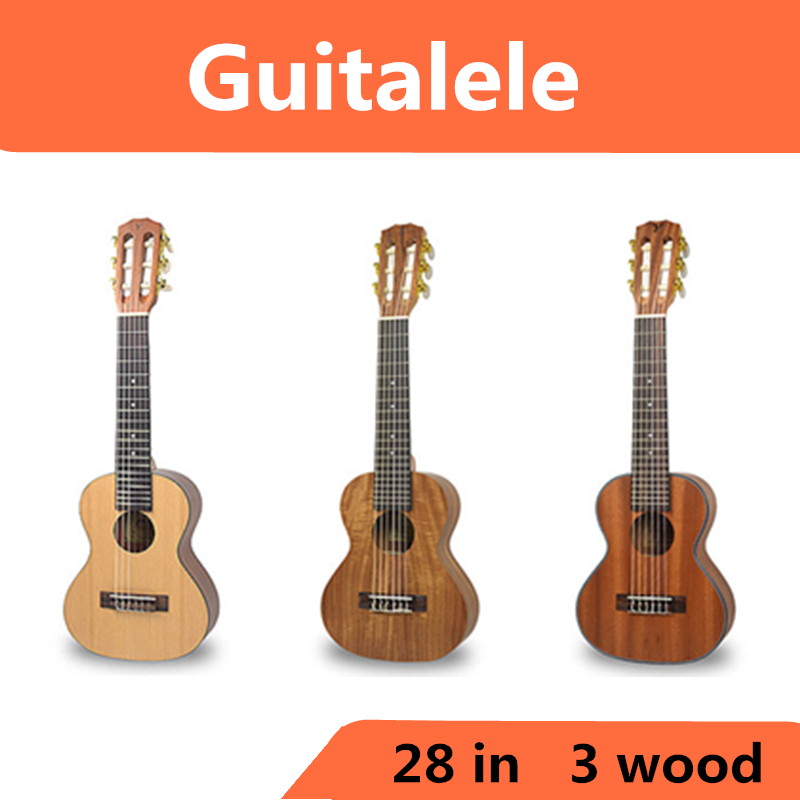 Acoustic Guitalele Ukulele 28 Inch Hawaiian Mini Guitar 6 Strings Ukelele Guitarra Mahogany Acacia Picea Asperata Acacia Uke 26 inchtenor ukulele guitar handcraft made of mahogany samll stringed guitarra ukelele hawaii uke musical instrument free bag