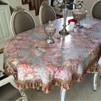 PanlongHome Green Floral Tablecloths Oval Spike Lace Wrapping Tablecloths Custom Tablecloths