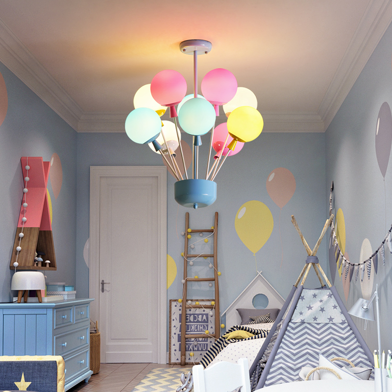 Colored Chandelier Children's Room Balloon led Light Creative Bedroom Restaurant Bar Chandeliers Clothing Store Decorative Lamps creative cartoon baby cute led act the role ofing boy room bedroom chandeliers children room roof plane light absorption
