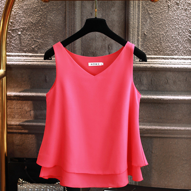 Sleeveless Chiffon Shirt Solid  V-neck Casual Blouse 2