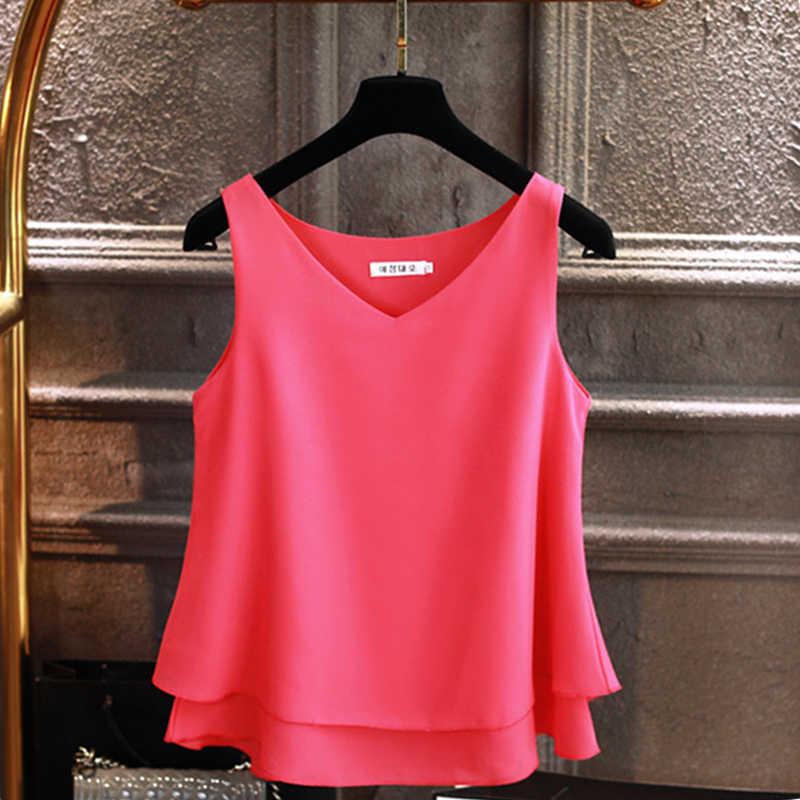 2019 ファッションブランドの女性のブラウス夏ノースリーブシフォンシャツ V ネックカジュアルブラウスプラスサイズ 5XL ルーズ女性トップ