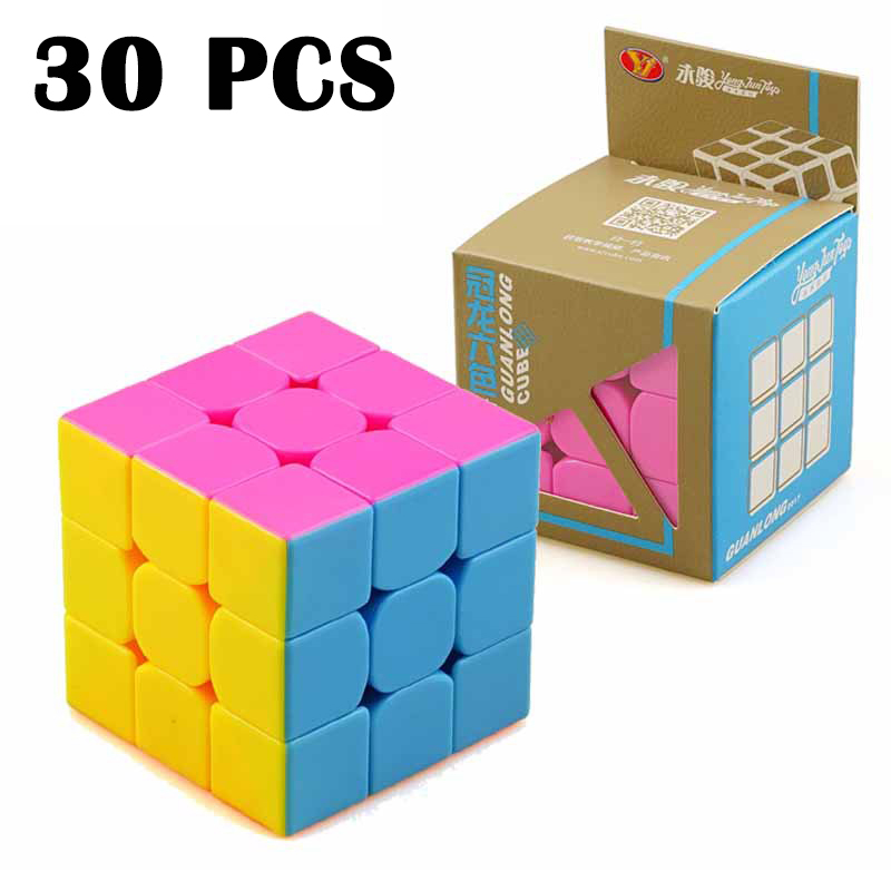 30 pièces YongJun GuanLong 3x3 cube Magique Lisse Concurrence Cubo magico Non Autocollant Puzzle cube Jouets Classiques à Trois couches Neo Cube