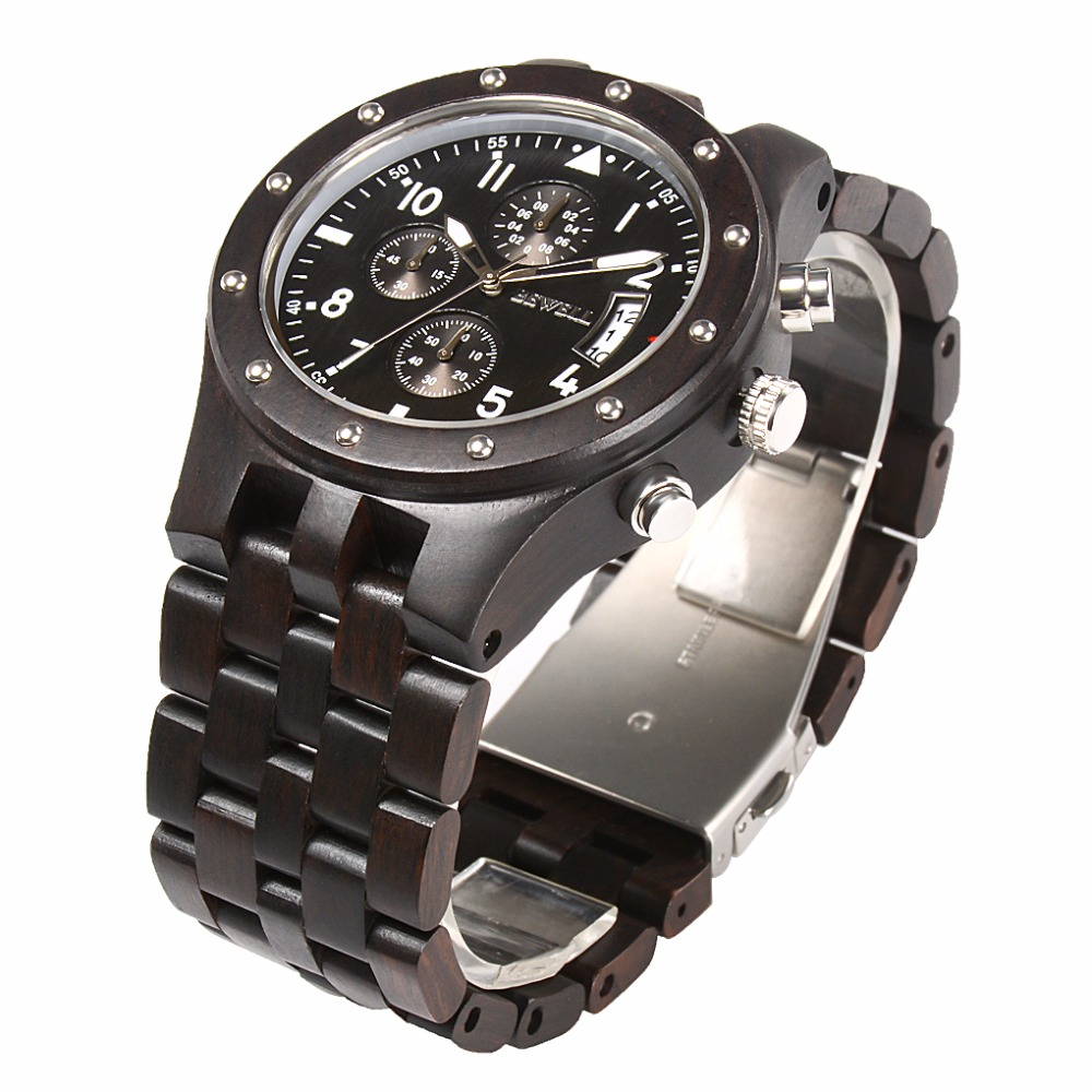 BEWELL Wood Watch Mens Watches Top Brand Luxury Designer Military Watch Quartz Analog Wrist Watch with Chronograph Calendar Date 12