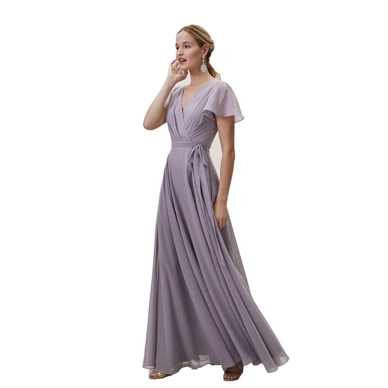 Robe de demoiselle d'honneur lilas à manches courtes en mousseline de soie robe d'été de mariée pour femmes robes de demoiselle d'honneur élégante longue robe de bal formelle