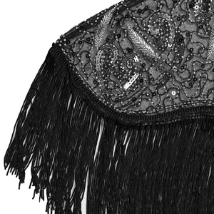 Image 5 - 여성 1920 년대 플래퍼 자수 프린지 숄 커버 개츠비 파티 페르시 스팽글 케이프 빈티지 메쉬 scraf 랩 드레스