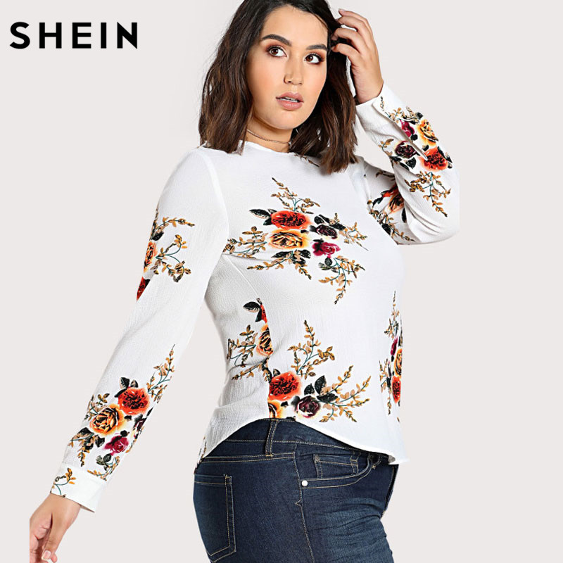 17be98853f477c SHEIN Floral Plus Size Blouse Women Multicolor O-neck Long Sleeve Casual  Flower Print Curved Hem Tunic Tops and Blouses