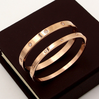 Beautiful Lovers Bracelets Stainless Steel Bangles Cubic Zirconia Golden Woman Jewelry Gifts 1