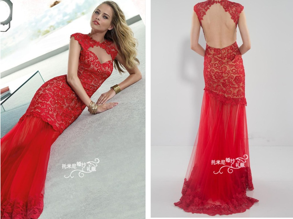 Sexy Backless long Prom   dresses   summer   dress   2015 new hot vestidos cap sleeve crystal red lace a-line Formal   Evening     Dress