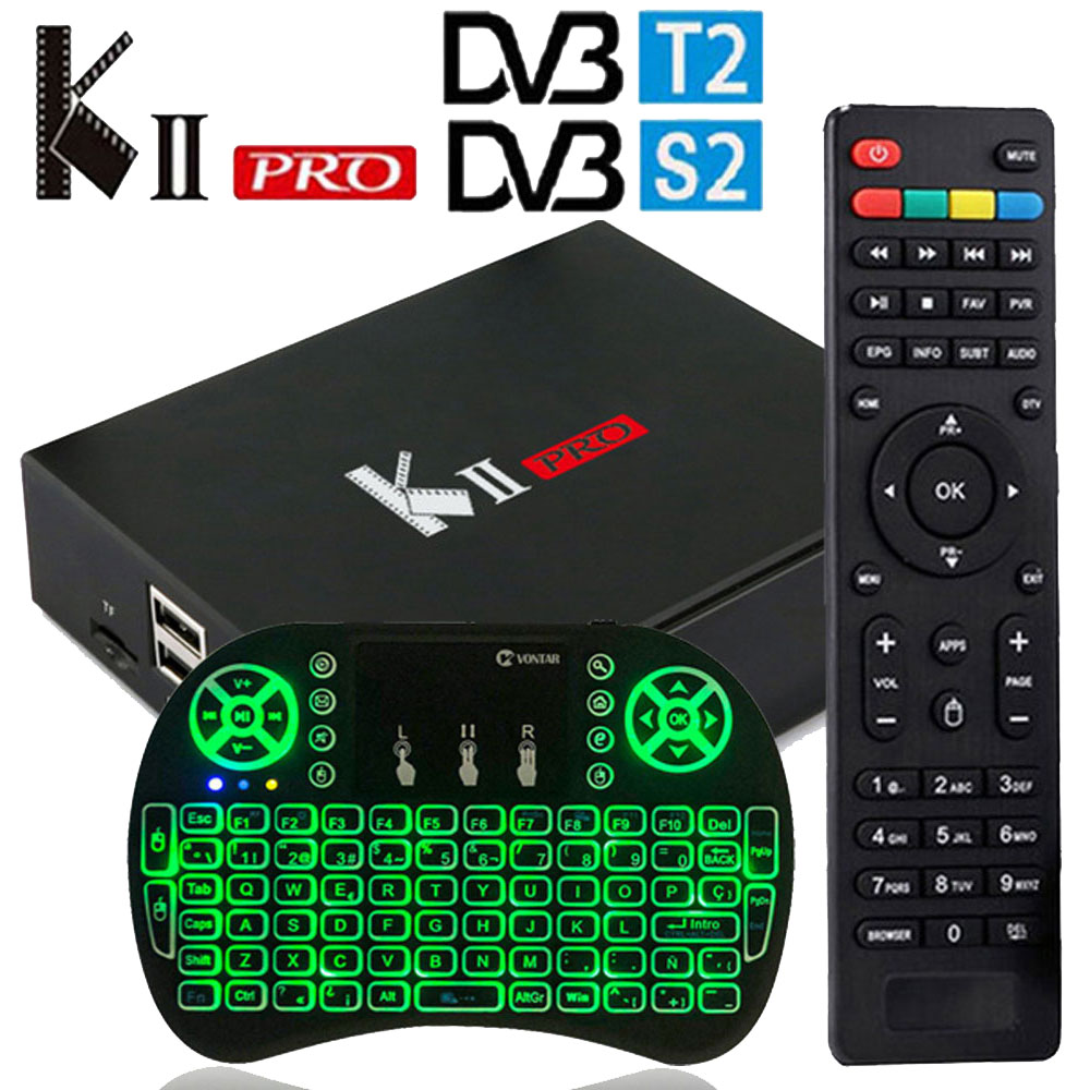 MECOOL KII Pro Android 7.1 TV Box K2 pro DVB T2 DVB S2 Set top box Amlogic S905D Quad-core 4K Media player support BT4.0 WiFi kii pro android 5 1 1 tv box built in 2 4g