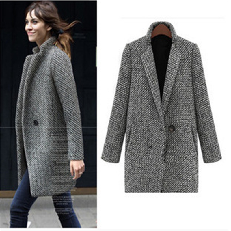 Vintage Autumn Winter Woolen Coat Single Button Pocket Oversize Long   Trench   Coat Outerwear Women Houndstooth Cotton Blend Coat