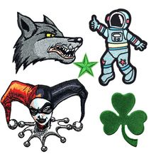 Spaceman Wolf Embroidered Animal Appliques Iron On Kings Poker Lucky Clover Patches for Clothes Bags Shoes Coats Badges Decor