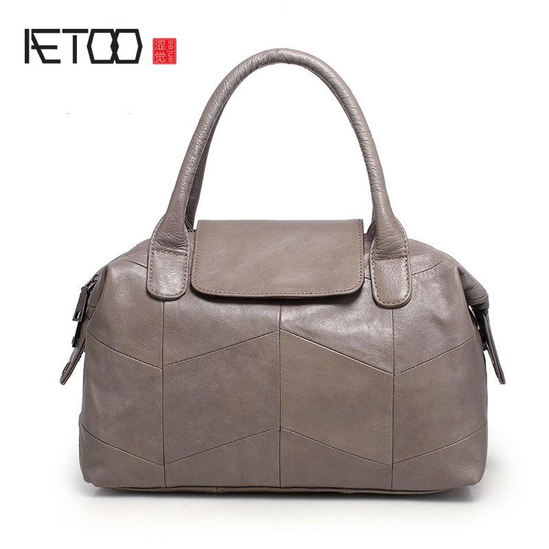AETOO New handbags simple handbag fashion trendy shoulder bag leather bag classicAETOO New handbags simple handbag fashion trendy shoulder bag leather bag classic