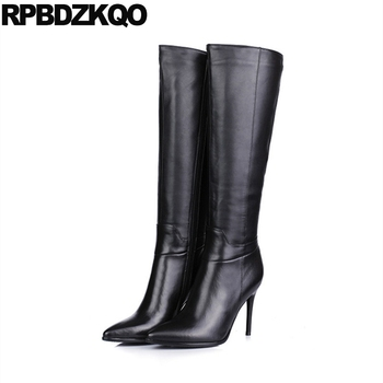 Long Big Size Designer Shoes Women Luxury 2017 Stiletto Black Brand Sexy 10 43 Winter High Heel Genuine Leather Boots Knee