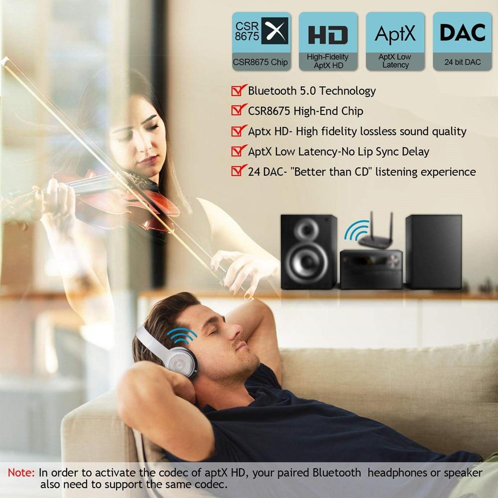 NFC et 262ft/80 m Longue Portée Bluetooth 5.0 émetteur récepteur 3in1 adaptateur audio Faible Latence aptX HD Optique RCA AUX 3.5mm TV - 2