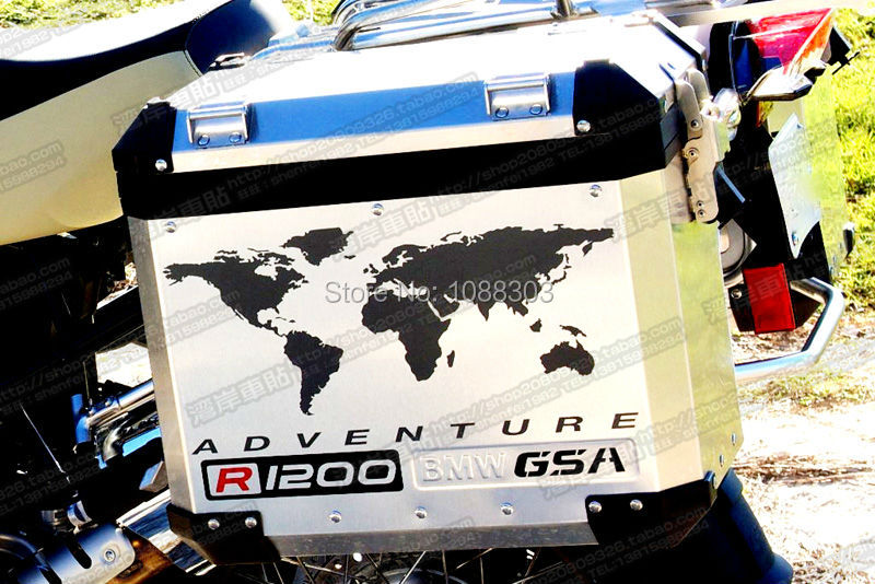 Gs motorcycle decal kit f800 world adventure map for touratech pack of 2pcs1 pair motorcycle side box for r1200gs f800gs touratech gsa adv gumiabroncs Image collections