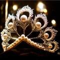 De las mujeres de Gama Alta de Plata Que Chispea Gran Princesa de la Corona de La Boda Accesorios Para el Cabello de Las Mujeres Adornos de Talla de Plata Tiara de La Perla Jewelr