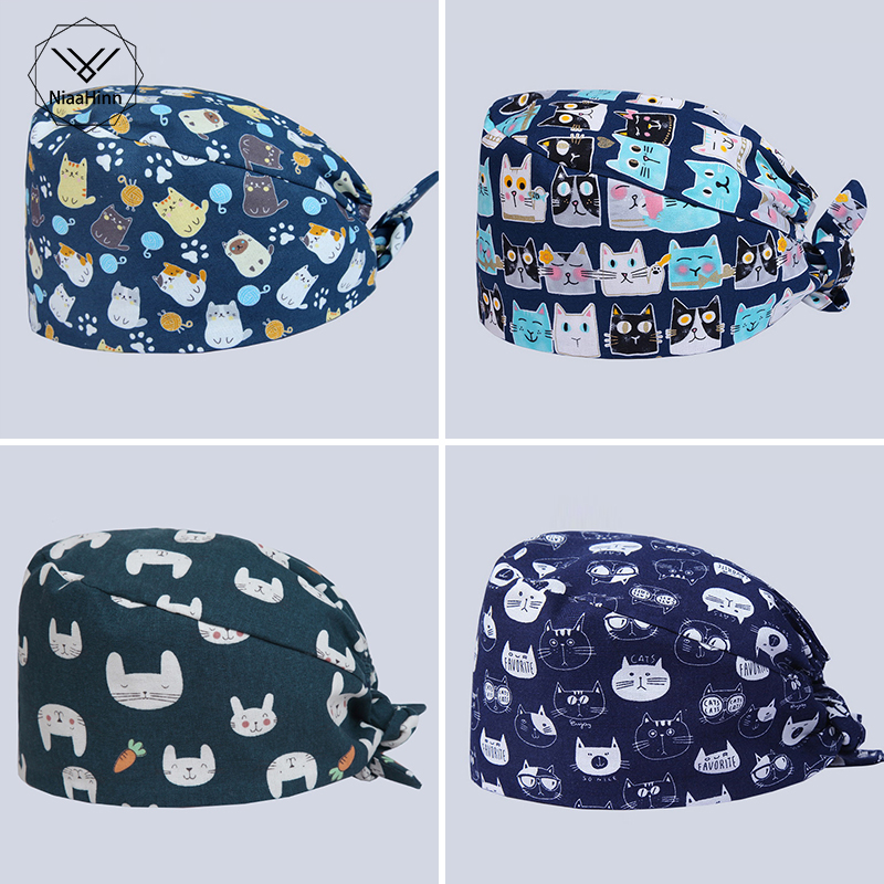 New Surgical Mask Unisex Dental Hospital Doctor Nurse Hat Medical Lab Clinic Pharmacy Operation Cap Printing Can Adjustable Hats