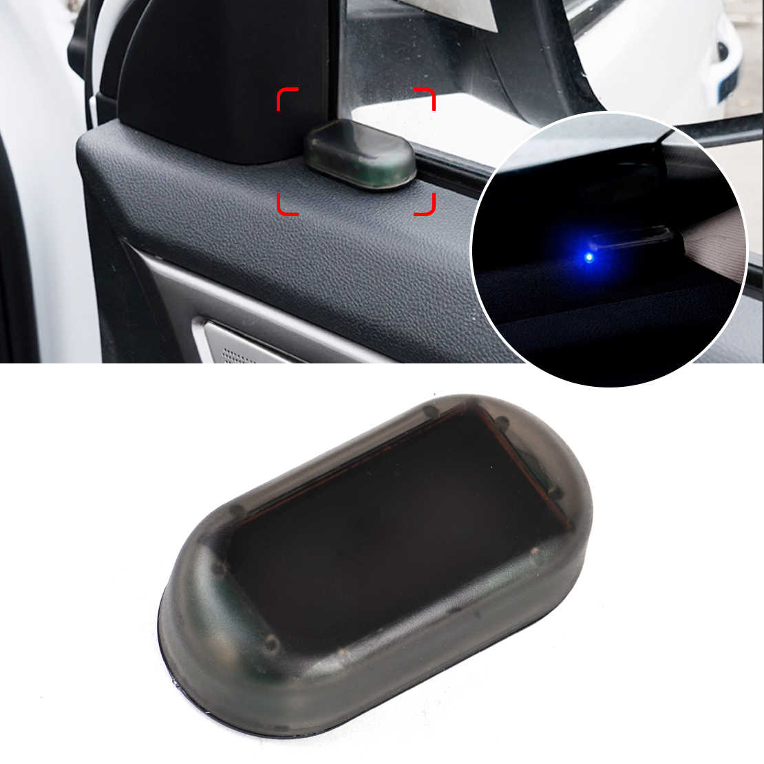 DWCX Car Blue LED Solar Power Simulated Fake Dummy Alarm Warning Security  Anti-Theft Flashing Light for VW Audi BMW Peugeot Kia