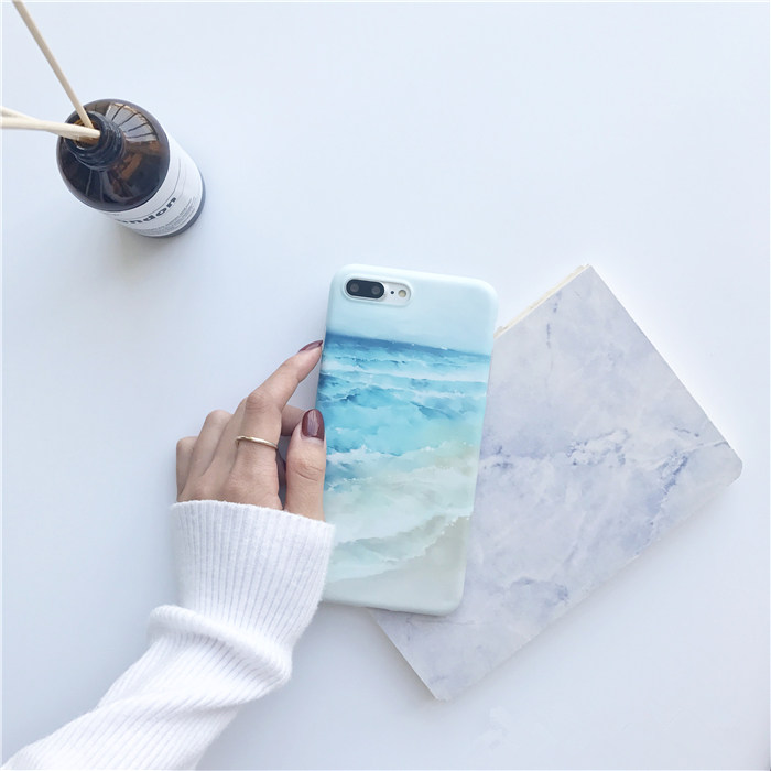 Cyato Beautiful Blue Sea Waves Beach Painted Case for iphone 7 Ocean TPU back cover For X 6 6s 8 plus capa fundas