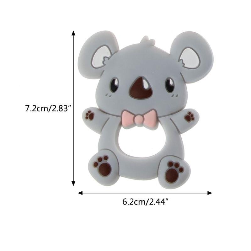 Купить с кэшбэком Safe Cartoon Baby Teethers BPA Free Cute Animal Koala Infant DIY Ring Teether Toddler Silicone Chew Charms Kids Teething Toys