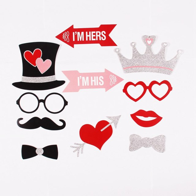 FENGRISE 27pcs Just Married Photo Booth Props Photobooth Wedding Favors Glasses Paper Card Funny Mask Party Decoration Photocall