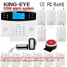 Russian/French/Spanish voice prompt 433mhz wireless sms gsm alarm systems security home with smoke detector gas leak sensor