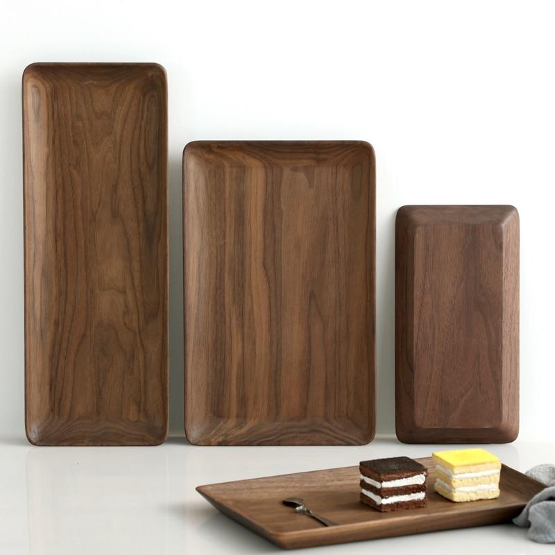 Plateau rectangulaire en bois de noyer noir | Plateau rectangulaire en bois de fruits assiette en bois, plateau de rangement amical, Kungfu plateau de service pour le thé
