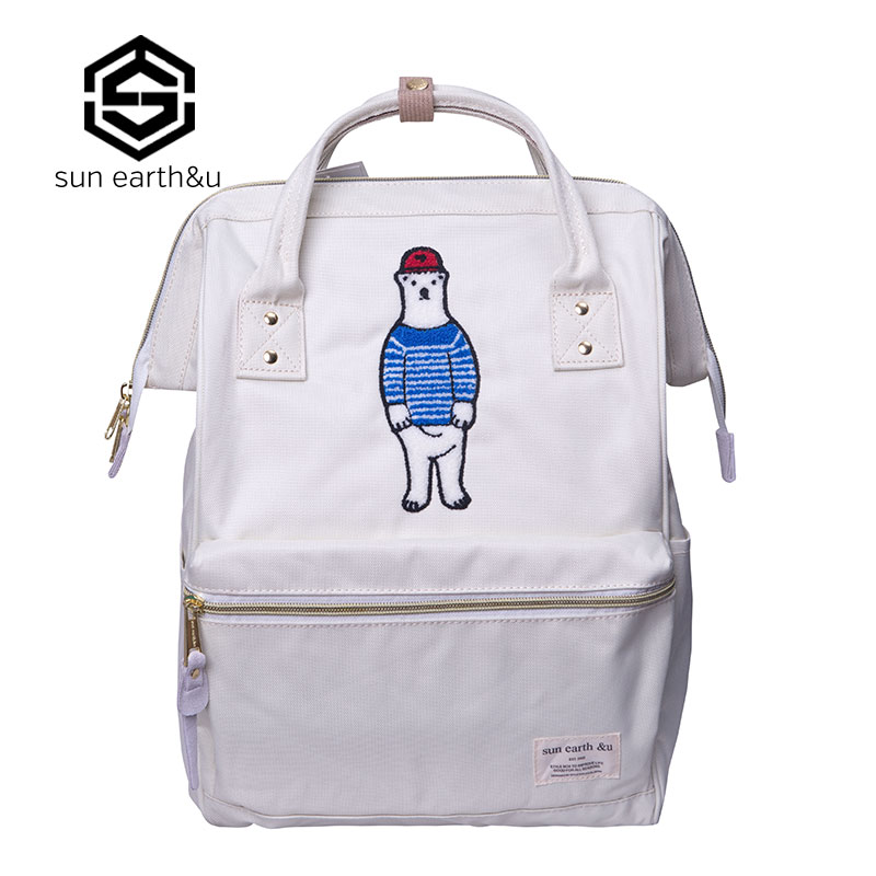 Sun Earth&U Bear Embroidery Women Backpacks Kanken Backpack Travel Rucksack School Bags For Teenager Sac A Dos Mochilas Backpack chinese hmong boho indian thai embroidery brand logo backpack handmade embroidered canvas ethnic travel rucksack sac a dos femme
