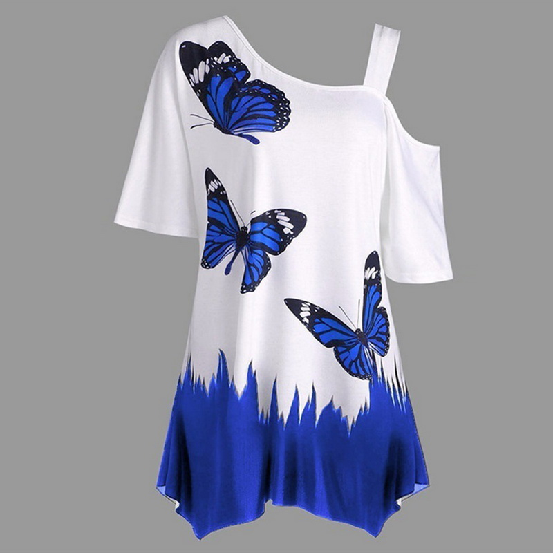 NIBESSER Large Size Women Butterfly Printing T-Shirt Fashion Summer Short Sleeve Off Shoulder Casual Loose Tee Tops Woman Clothe