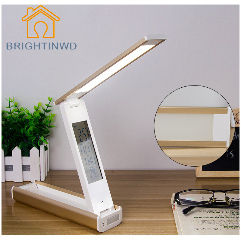 4 in 1 Lamp Foldable Dimmable Led Desk Lamp Table Light with Calendar Temperature Alarm Clock Atmosphere Colors USB Changing digital eye protect portable led reading lamp dimmable touch led table lamp led rechargeable desk lamp with calendar alarm colck