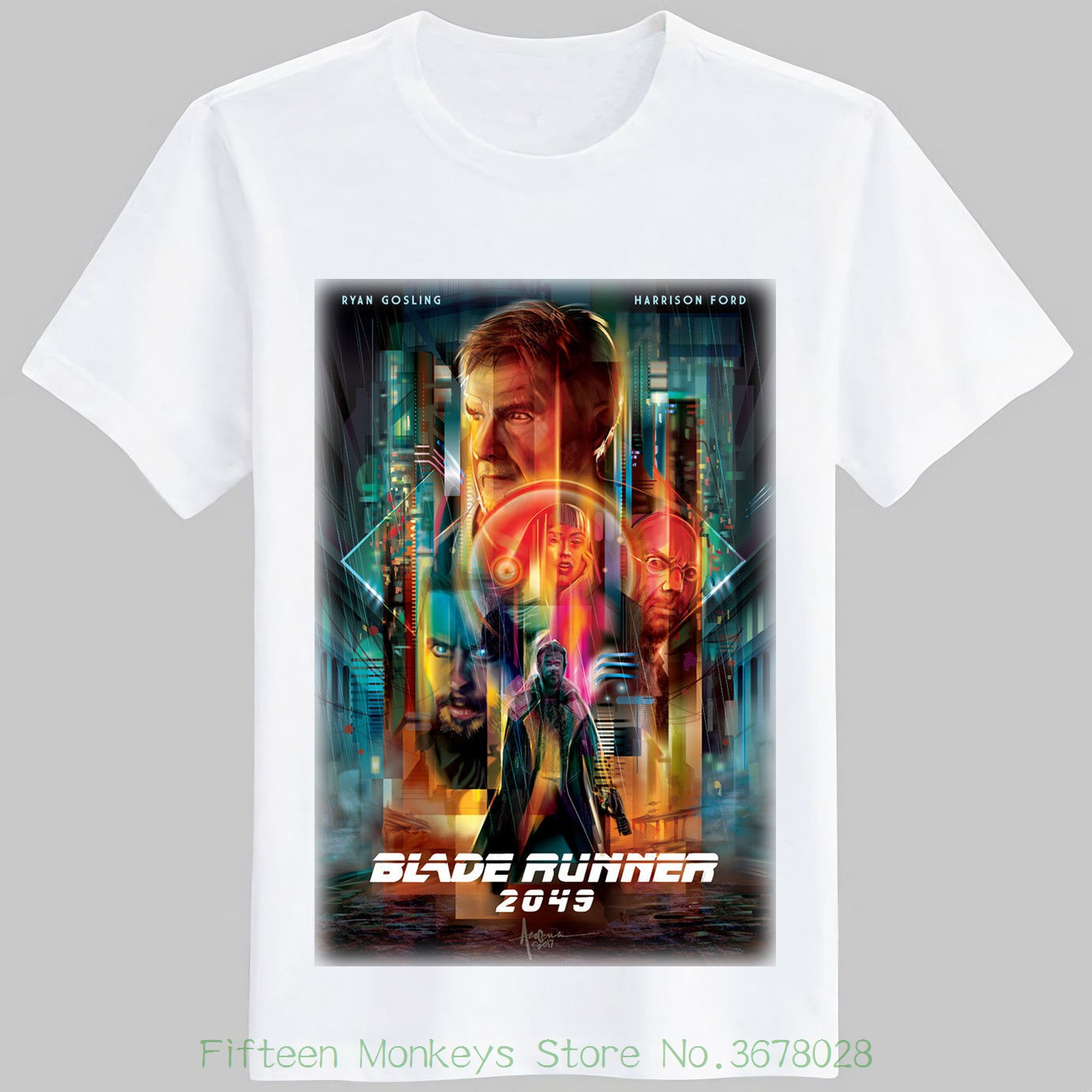 Funny Casual Brand Shirts Top Blade Runner 2049 Movie Film Sci Fi Black T-shirt ( S , M  ...