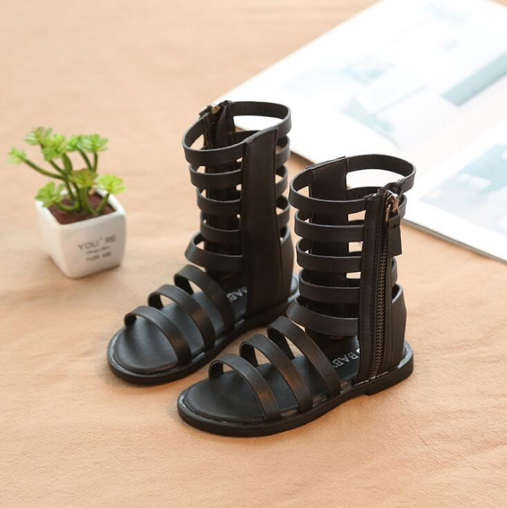 2019 Summer 2 Colors Baby Girl Cut-Outs Hollow Roman Sandals Children Knee Boots Gladiator Kid Flat Zipper PU Shoes