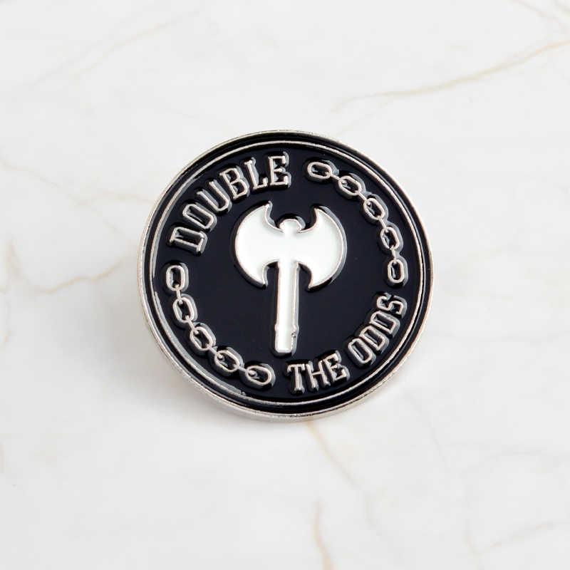 Hitam Bulat Enamel Bros Bir Cokelat Kehitaman AX Kerangka Pin Denim Pakaian Tas Lencana Kerah Pin Punk Gelap Hadiah Perhiasan