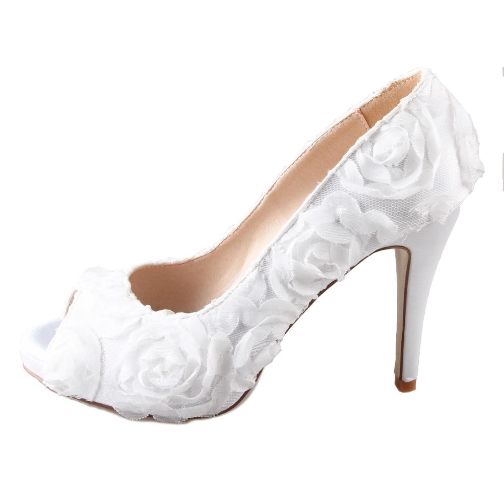 Creativesugar Handmade white 3D rose flower fairy tale theme bridal bridalmaids shoes wedding party prom pumps open peep toe