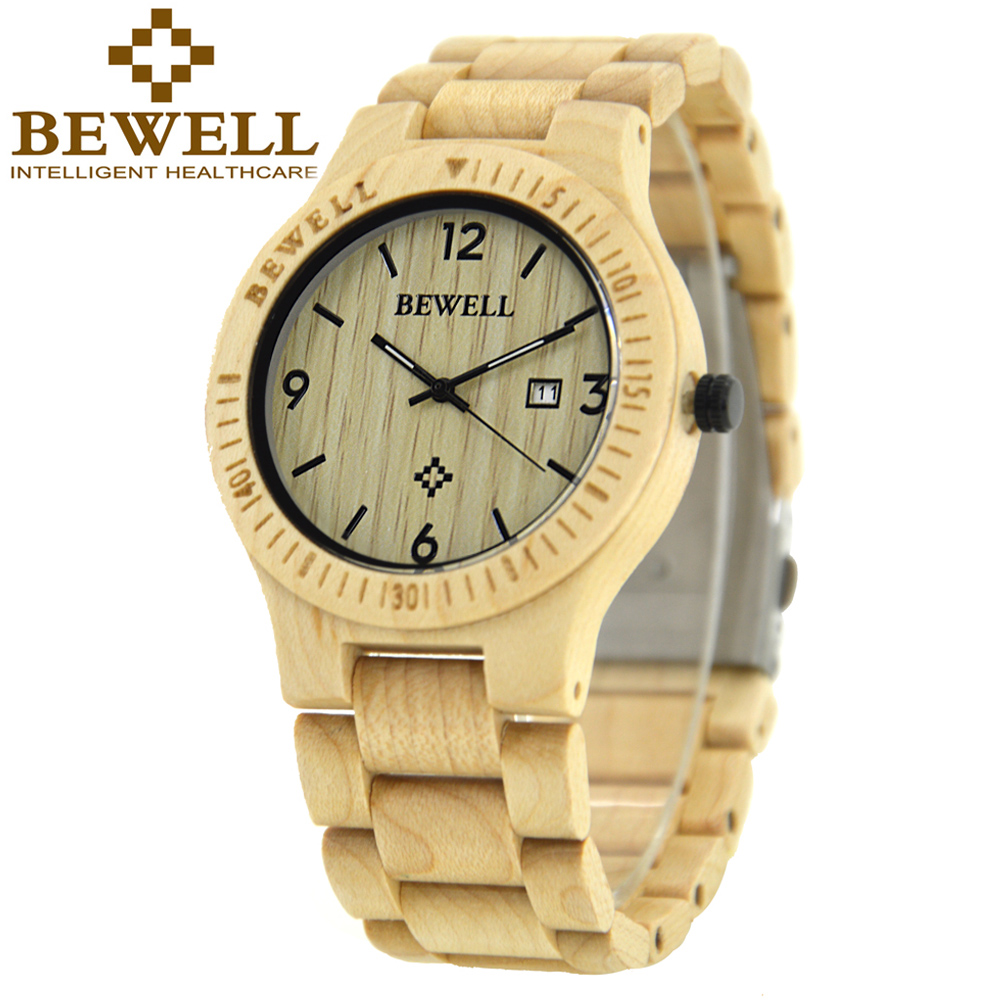 BEWELL Men s Watches Nature Maple Quartz Watch Men Wooden Strap watches men luxury hand watch