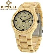 Naturaleza bewell relojes de los hombres correa de reloj de cuarzo de los hombres de madera de arce reloj relogio masculino relojes hombres de lujo de la mano con la caja 086b