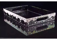 Europe Luxury 35*25cm PU leather+Diamond Cosmetics storage tray home wedding decoration tray wooden serving tray PTP13