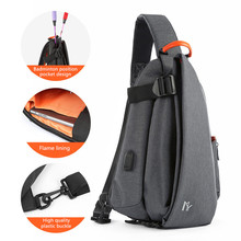 Multifunction Fashion Crossbody Bag Men USB Charging Chest Pack Short Trip Messengers Water Repellent Shoulder