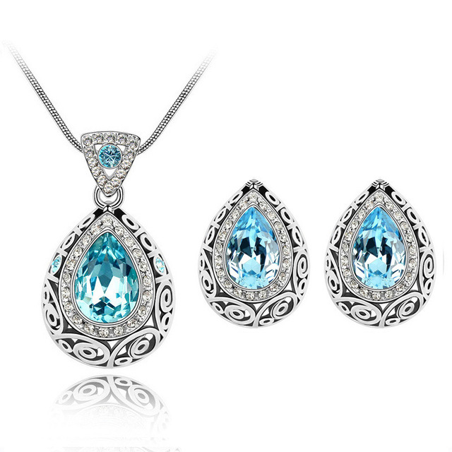 Gold Color Jewelry Sets Blue Green Austrian Water Drop Crystal Rhinestone  Earring Necklace Pendant Jewelry c8bc482b50f0