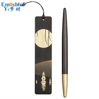 New Wooden Hollow Carving Antique Bookmarks Wooden Ballpoint Pen Bookmark Set Gift Pen Box Company Gifts Custom Logo P571