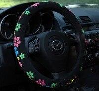Black Steering Wheel Cover Cartoon Flowers Steering Cover All Seasons Wheel Cover 38cm Diam Car Accessory