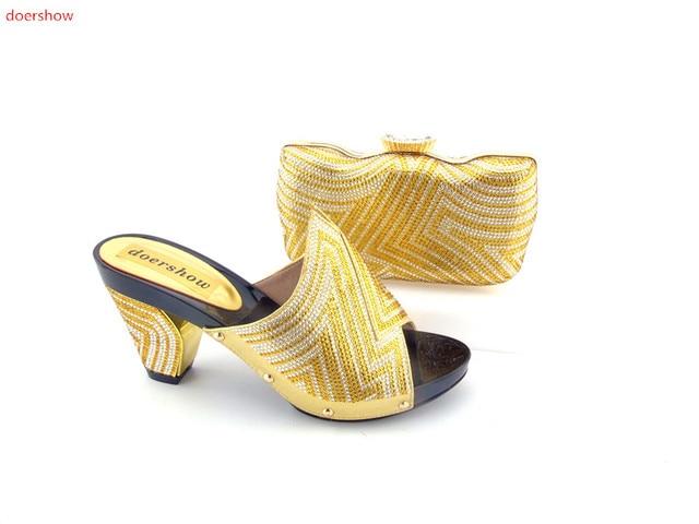 bbd256b63eb9 Doershow High Quality Nigeria Gold Color Wedding Shoes Italian Shoes