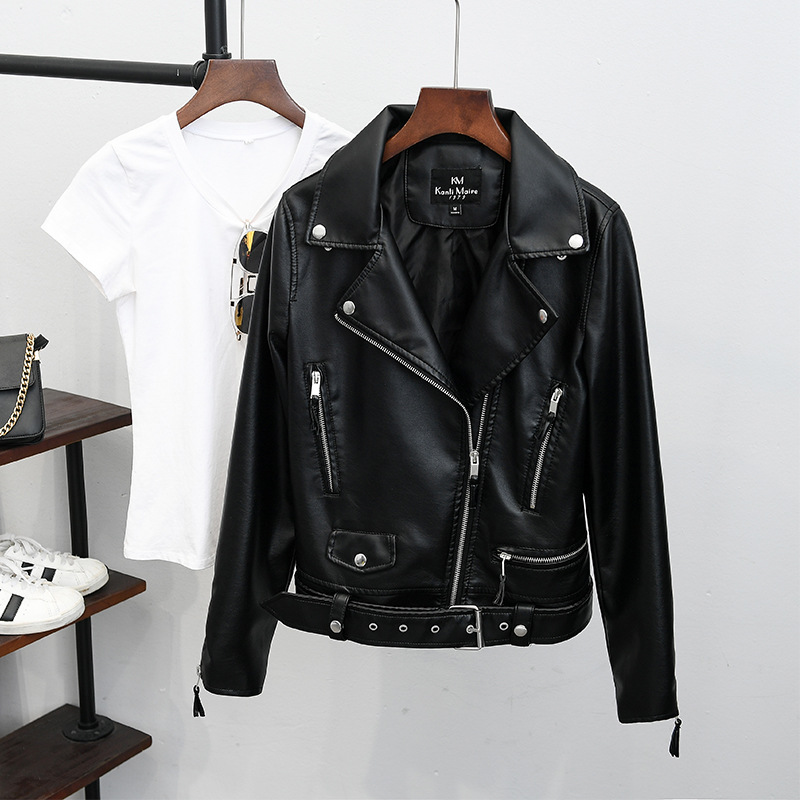 Brand famous New Fashion Women Black Faux   Leather   Jackets Runway women motorcycle Biker Jacket With Blets