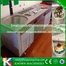 2.8KW Double Round Flat fried ice cream machine, ice cream roller machine Ice cream pan with 10 Cooling Storage Barrel