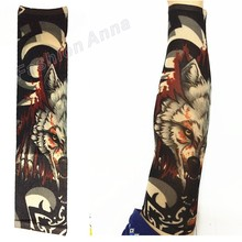 1PC Mixed Nylon Eastic Fake Temporary Tattoo Sleeve Bloody Wolf Designs Body Arm Stockings Tattoos For Cool Men And Women
