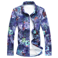 Men's Hipster Flower Print Shirt Men 2019 Casual Long Sleeve Cotton Dress Mens Shirts Big Size Red Cool Streetwear Chemise Homme