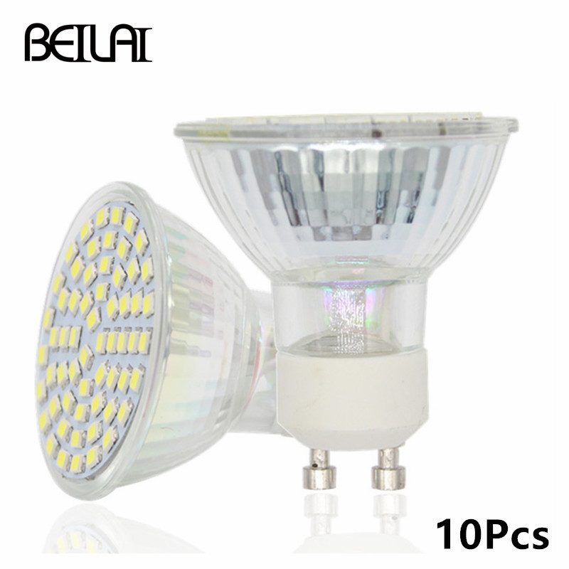 beilai 10pcs 2835 gu10 lampada led lamp 220v bulbs