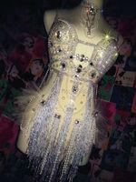 Fashion Glisten Rhinestone Tassel Leotard Women Sexy Party Sequins Bodysuits Bra Costumes Stage Dance Nightclub Party Wear